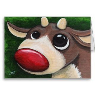 Red Nosed Reindeer   Rudolph Christmas Card