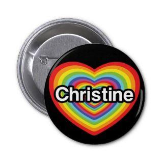 love Christine rainbow heart Pin