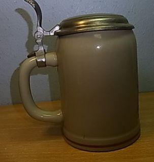 Vintage German Lidded Beer Stein Bavarian Lederhosen #W