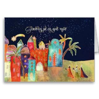 Merry Christmas in Danish, three wise men Cards