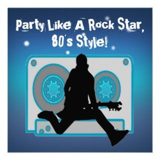 Party Like A Rock Star 80s Party Invitations