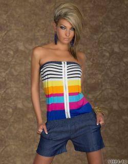 Bandeau Overall m Streifen jeans Short XS S M 34 36 multicolor