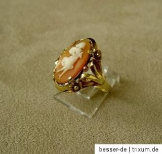 Älterer Ring 585 Gold mit Muschelkamee Mädchen Goldring mit Kamee