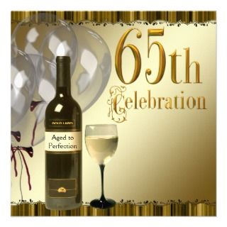 Glass Bottle Gold 65th Birthday Party Custom Invites