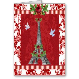 Noel ~ Merry Christmas Eiffel Tower Greeting Cards