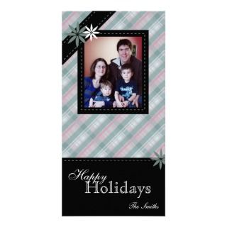 Happy Holidays Family Photo Card  Teal White Plaid