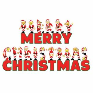 Merry Christmas Teddy Bear Santa Claus Letters Acrylic Cut Outs