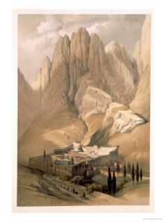 Convent of St. Catherine with Mount Horeb, 1839, Plate 118, Vol.III The Holy Land, Engraved Haghe Giclee Print by David Roberts