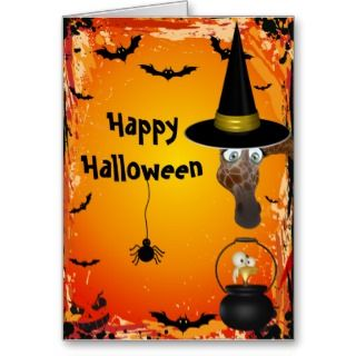 Cute Giraffe Witch & Bird Brew Halloween Card