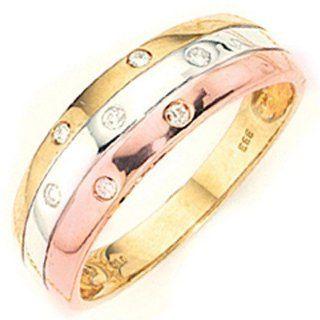 Diamanten Brillanten & gelb weiß rot 333 Gold Fingerschmuck Goldring