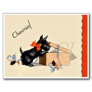 Scottie Dog   Retro Happy Birthday Card Post Cards