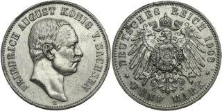 C544 J.136 Sachsen 5 Mark 1908 Friedrich August III.