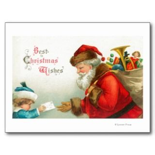 Little Boy Giving Santa a Letter Post Card