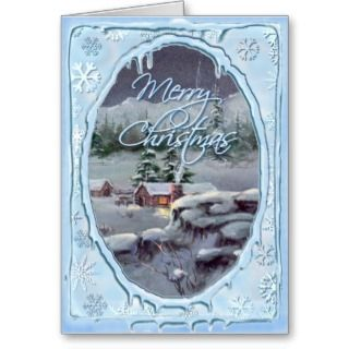 MERRY CHRISMAS LOG CABIN by SHARON SHARPE Greeing Cards