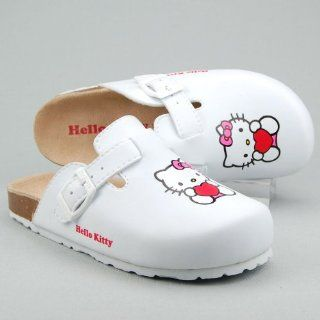 HELLO KITTY Kinder Bio Pantolette, Clogs, Decksohle Leder, weiss