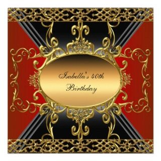 40th Birthday Party Rich Black Red Gold Flourish Custom Invitations