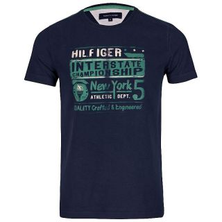 Tommy Hilfiger TH Herren T Shirt Tshirt Shirt INTERSTATE TEE blau S M