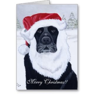 Black Labrador Christmas Santa Hat Painting Greeting Card