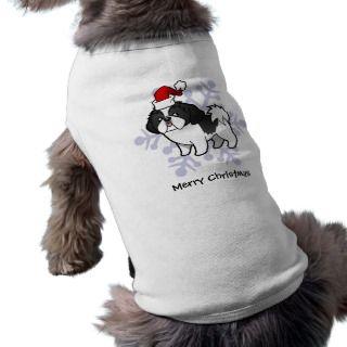 Christmas Shih Tzu (black parti puppy cut) pet clothing by