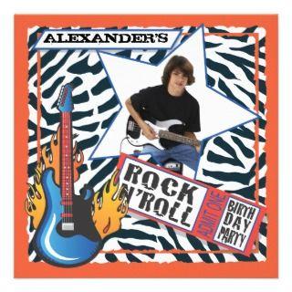 Rock NRoll Rock Star Birthday Party Invitations