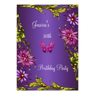 Party Invitations, 359 Pink Purple Butterfly Birthday Party