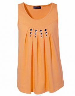 Schickes Damen Shirt Top Gr. 56 / 58 XXXL Oberteil ärmellos Aprikose