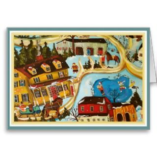 Primitive Folk Art Skating Christmas Greeting Card