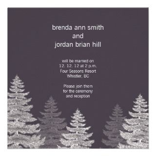 Modern Grey Winter Wedding RSVP Cards Trees Custom Invitations