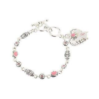 Elegantes Armband Brustkrebs Schleife mit Engel Anhänger, rosa