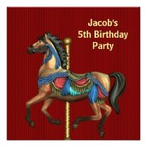 Carousel Pony Boys 5th Birthday Party invitations by InvitationCentral