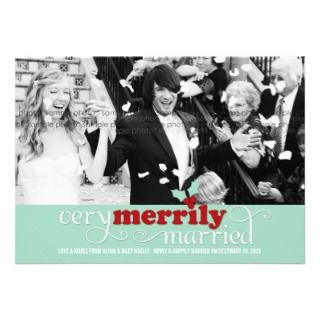 Merrily Married First Christmas Holiday Greetings Personalized Invite