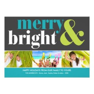 BRIGHT HOLIDAY  HOLIDAY PHOTO CARD CUSTOM ANNOUNCEMENT