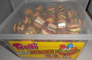 60 Mini Fruchtgummi Trolli Burger (Hamburger) /einzeln verpackt zum