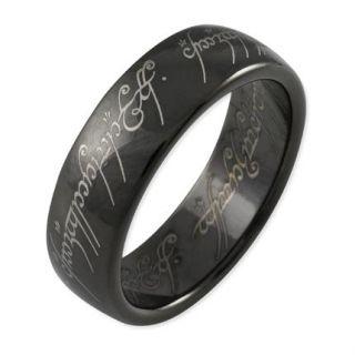 LOTR Herr der Ringe Schmuck DER EINE RING aus Titan/schwarz/poliert