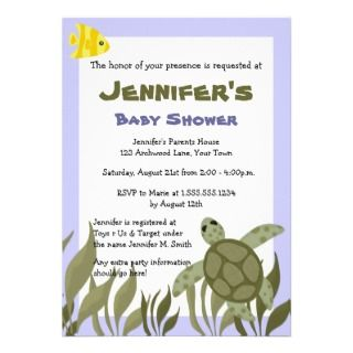 Cute Ocean Sea Turtle Baby Shower Invite 5x7