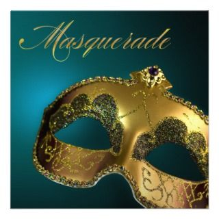 Gold and Teal Classic Masquerade Party Personalized Announcements