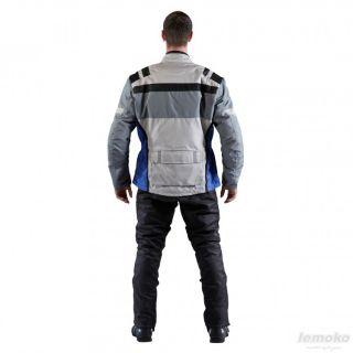 Cordura Jacke Motorradjacke Atmungsaktiv Grau/Blau
