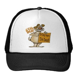 Funny Dog 65th Birthday Gifts Hats
