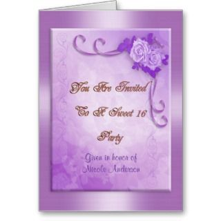 Sweet 16 party invitation Purple roses ribbons Greeting Cards