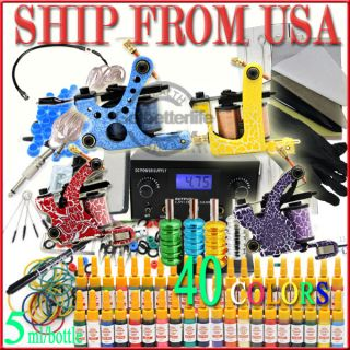 TOP Tattoo Machine Guns 10 Coils Inks Needles Power Supplies Set
