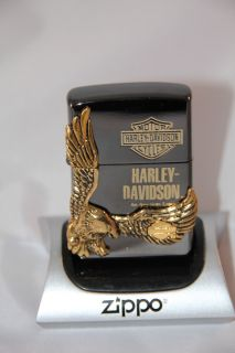 JAPAN ZIPPO BLACK ICE HARLEY DAVIDSON GOLD EAGLE