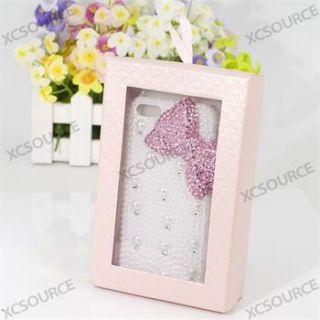 Für iPhone 5 5G 3D Bling Rhinestone Pink Bow Cover Case Taschen