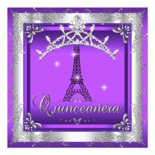 Purple Quinceanera 15 Silver Tiara Eiffel Tower Custom Invitation