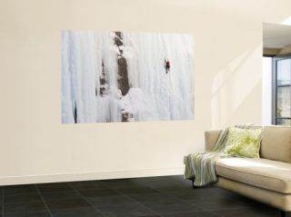 Ice Climber on Weeping Wall Above he Icefields Parkway, Banff Naional Park, Albera, Canada Wall Mural by Don Grall