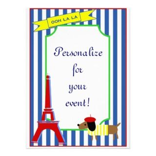 Ooh La La French Poodle and Eiffel Tower Custom Invitations