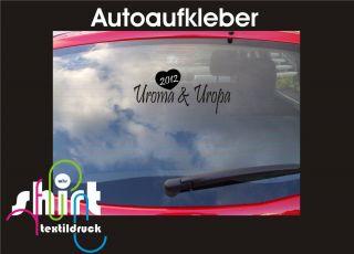 492   Ur Oma & Ur Opa 2012 Baby Auto Aufkleber Scheibe Heckscheibe