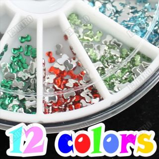 1200pcs 12 Diff Colors Bow Tie Design Glitter Decoration for Acrylic