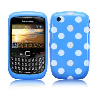 Blue Polka Dots Gel Case For Blackberry Curve 3G 9300 / 8520 + Screen