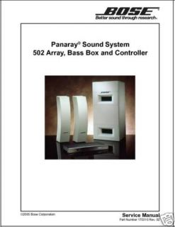 BOSE PANARAY 502A 502B 502C SERVICE MANUAL PRINTED