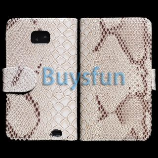 White Crocodile Golssy Wallet Leather Cover Case for Samsung Galaxy S2